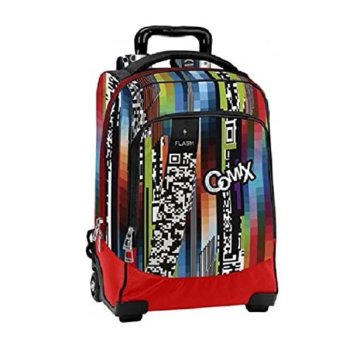 Zaino Scuola Trolley Comix Flash QR Noise Rosso Organizzato Luce Led 43x31x22 cm