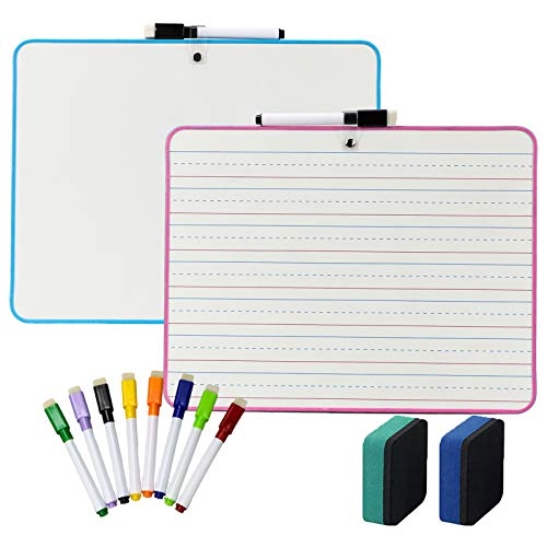 2Pcs Ruled Dry Erase Lapboard and Blank with 10 Pieces Color Mixed Erasable Pens & 2 Pieces Erasers Four Lines and Three Grids Smooth Double Sided Lap Boards for Kids Learning Writing Drawing
