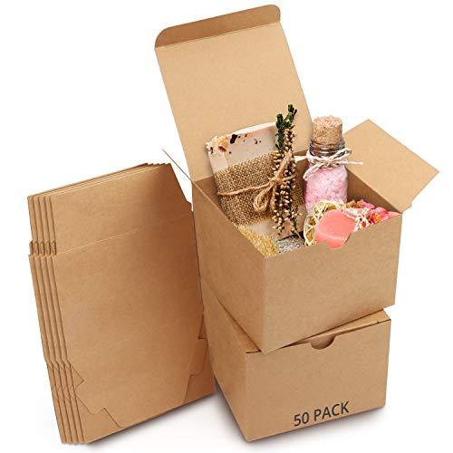 Belle Vous Karton Geschenkboxen Braun (50 Stk) - Schachteln 12 x 12 x 9 cm Pappschachteln mit Deckel - Kraftpapier Geschenk Box zum selber Aufbauen für Geschenke, Hochzeit, Party, Weihnachten
