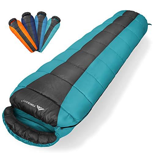 Forceatt Mumienschlafsack für 3 Jahreszeiten (Sommer, Frühling, Herbst) Warmes und kühles Wetter, Campingschlafsack für Erwachsene und Kinder mit Leichtgewicht, geeignet für Rucksacktouren, Wandern