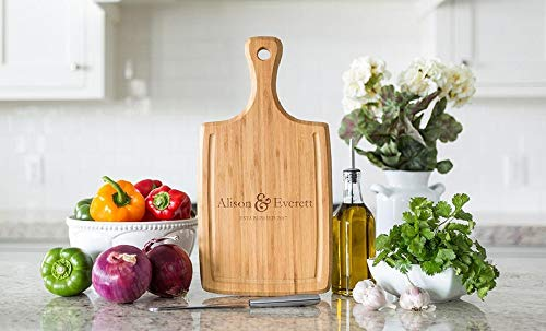 Personalized Fuller Design Wood Cutting Boards (Alison & Everett Design) - Perfect Gifts For Weddings, Bridal Showers, and Housewarmings - 9 x 17 Bamboo Handled with Grooves