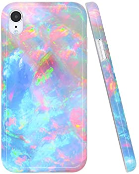 A-Focus Compatible with iPhone XR Case Colorful Opal for Girls Women Glossy Blue Green Opal IMD Bumper Shock Proof Flexible Slim Rubber Silicone Case for iPhone XR 2018 6.1 inch Glossy Colorful