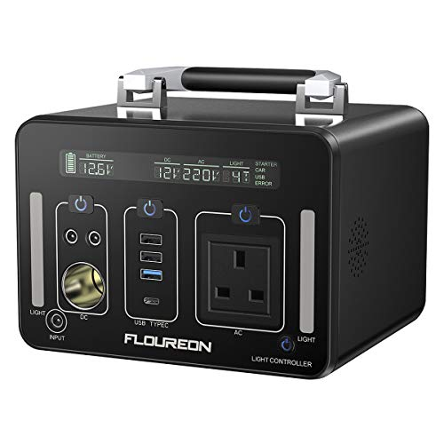 FLOUREON Portable Power Generator 500Wh /140400mAh Inverter Power Station AC Output Emergency Power Charged by Solar Panel/Wall Car Cigarette Lighterfor Camping, Home, Travel, Outdoor