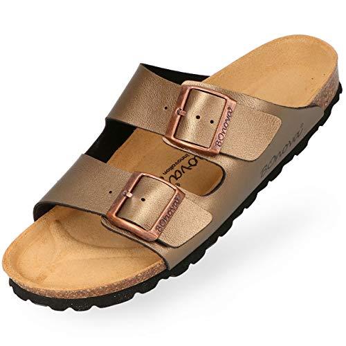 BOnova Damen Pantolette Schwanberg in 9 Farben, sommerliche Sandalen in auffälligen Farben und mit Beschlägen, Bequeme Hausschuhe mit Kork-Sohle Bronze 39