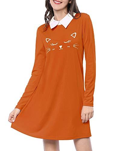 Allegra K Vestido por Encima De La Rodilla Collar De Contraste Dobladillo De Llamarada Estampado De Cara del Gato Caramelo XS