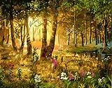 WLYUE Sol a través de los árboles y la hierba paisaje pintura por números arte lienzo pintura pared cuadros para sala de estar decoración del hogar regalos de Navidad