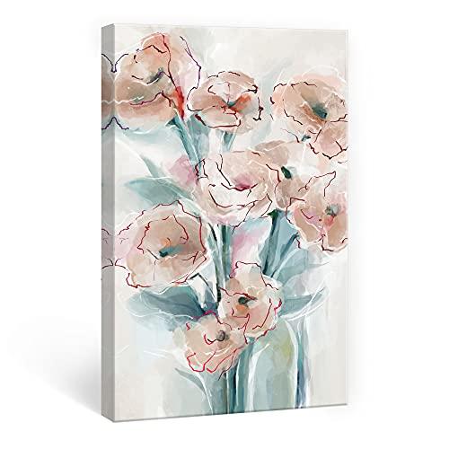 SUMGAR Cuadros en Lienzo Flores Rosas Modernos Abstractos de Decoración Hogar Florales para Dormitorios Baño Cocina Sala de Estar - 40 x 60 cm (Clavel)