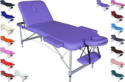 Polironeshop Europa ligero portátil plegable Mesa de masajes con el bolso de aluminio Púrpura