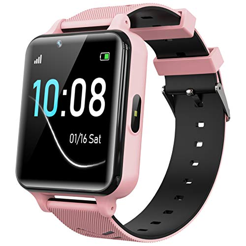 Kids Smartwatch for Boys Girls - Kids Smart Watch Phone Touch Screen with Calls Games Alarm Music Player Camera SOS Calculator Calendar Children Toys Birthday Gifts for 4-12 Years Students (Pink)