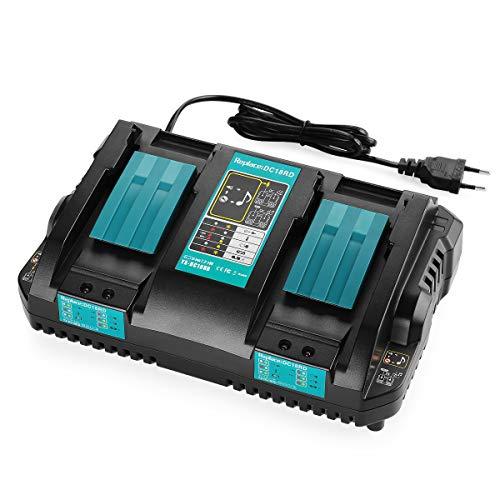 XNJTG 14.4V ~ 18V 4A Cargador de doble puerto de repuesto para Makita 18V Li-ion Batería BL1850 BL1850B BL1840 BL1840B BL1830 BL1415 BL1430 BL1440 DC18RD Cargador