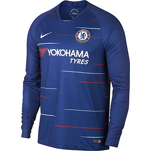 2018-2019 Nike Chelsea Long Sleeve Home Jersey (Rush Blue) (XL)