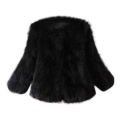Xinan Mantel Damen Warm Faux Pelz Fox Jacke Parka Outerwear (L, Schwarz)