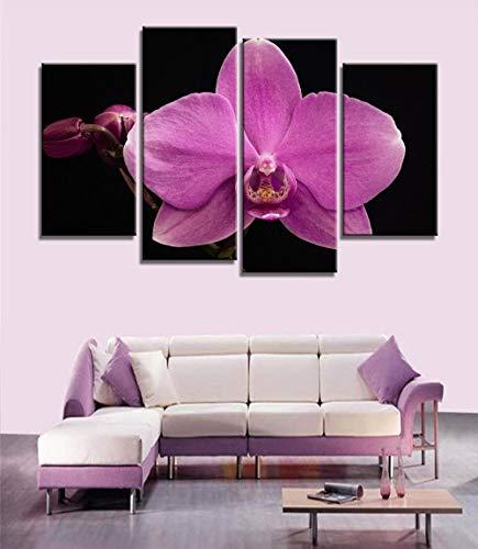 ANTAIBM® 4 Visuelle Fotos der Inneneinrichtung Holzrahmen - verschiedene Größen - verschiedene Stile4 Stück moderne Malerei lila Orchidee Home Decor Leinwand Malerei Blumen Wandbilder für Wohnzimmer M
