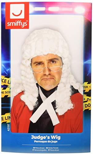 Smiffys Herren Richter Perücke, Weiß, One Size, 42197