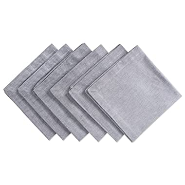DII Chambray Pastel Basic Cloth Napkins for Everyday Place Settings with Woven Denum Look, Perfect for Weddings, Buffets, Parties, Formal Meals (20x20 Large, Set of 6) Gray