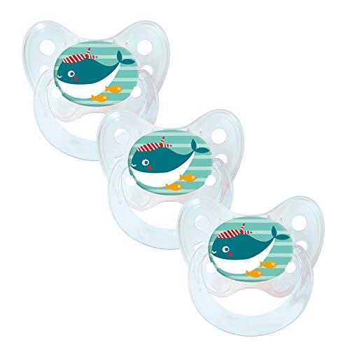 Dentistar® Silikon Schnuller 3er Set - Baby Nuckel Größe 1, 0-6 Monate - Beruhigungssauger für Babies und Kleinkinder - zahnfreundlich und kiefergerecht - Made in Germany- BPA frei - Wal