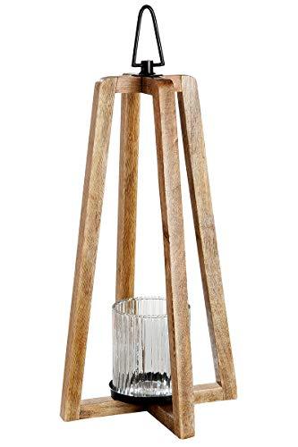 GILDE Laterne Triangolo - aus Mangoholz mit Windlicht Glas H 47 cm
