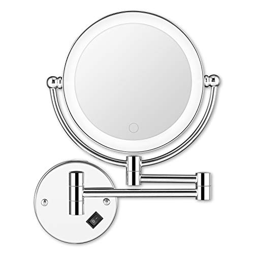 BRIGHTINWD 5X LED Wall Mounted Makeup Mirror with Dimmable Lights and Switch Magnifying Wall Bathroom Mirror Touch Screen Power by Plug