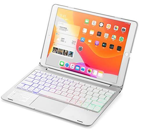 Funda con teclado QWERTY para iPad 10.2 2019, con teclado Bluetooth, con panel táctil, color plateado