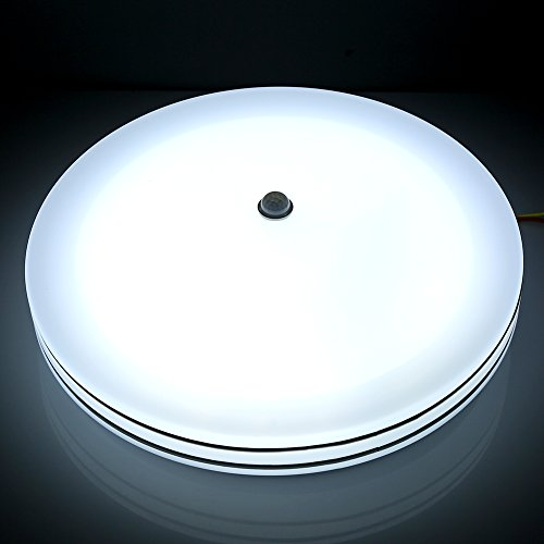 Plafonnier LED 24W, Lampe de Plafond Détecteur du Mouvement, Etanche IP44 Salle de Bain, Equivalent à Ampoule Incandescente 150W, 6000K/ 3000K Blanc Lumière Du Jour/ Chaude , 950lm, Eclairage Intérieu(lumière blanche du jour )