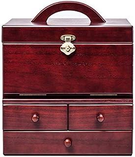 77SRF Boîte de rangement à bijoux avec 3 miroirs HD Miroir de maquillage portable + étui cosmétique/rouge marron (28,7 x 2...