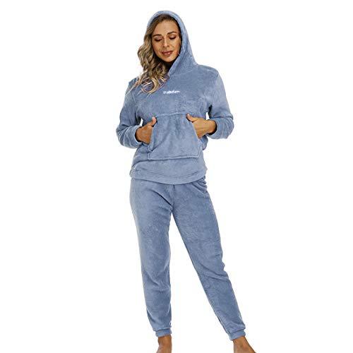 Dihope 2 Pièces Pyjama Ensemble Femme en Flanelle Haut et Pantalon Vêtements d'Intérieur Polaire Chaud Épais Vêtements de Nuit Automne Hiver