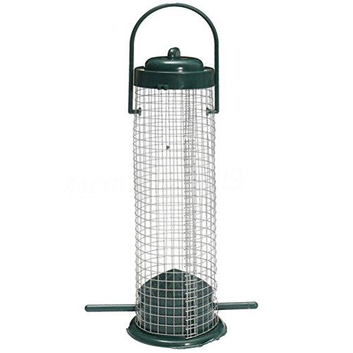 UKCOCO Distributeur de Tube de graines d'oiseau de mangeoire d'oiseau Sauvage accrochant extérieur avec des grilles de Fer (Atrovirens)