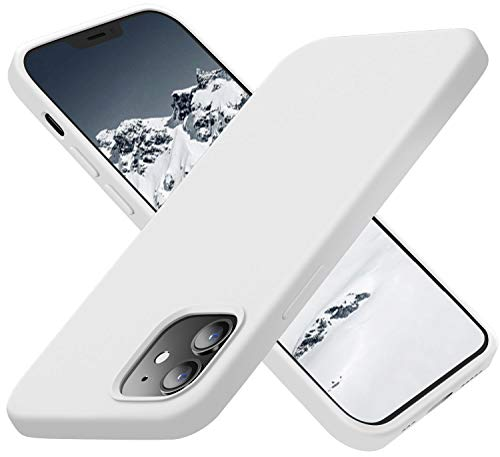 Cordking Designed for iPhone 12 Case, Designed for iPhone 12 Pro Phone Case Silicone, Ultral Slim Cover with [Soft Anti-Scratch Microfiber Lining] 6.1 inch, White