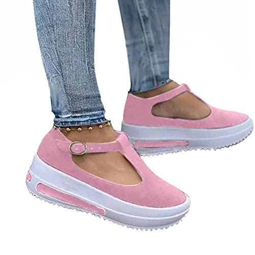 Sandalen Damen Sommer Orthopädische Tiefem Fischmund Offene Zeh Sandaletten Klettverschluss Dicke Keilabsatz Sommerschuhe Frauen Freizeitschuhe Pantoffeln Plattform rutschfest Sportstrick Schuhe