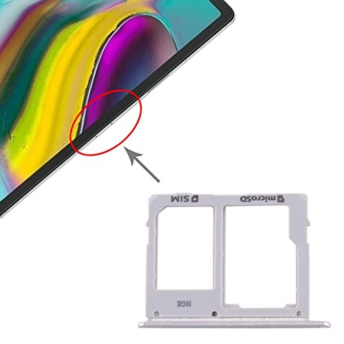 ZENGMING Repair Parts SIM Card Tray + Micro SD Card Tray for Samsung Galaxy Tab S5e SM-T725 Phone Replacement Parts (Color : Silver)