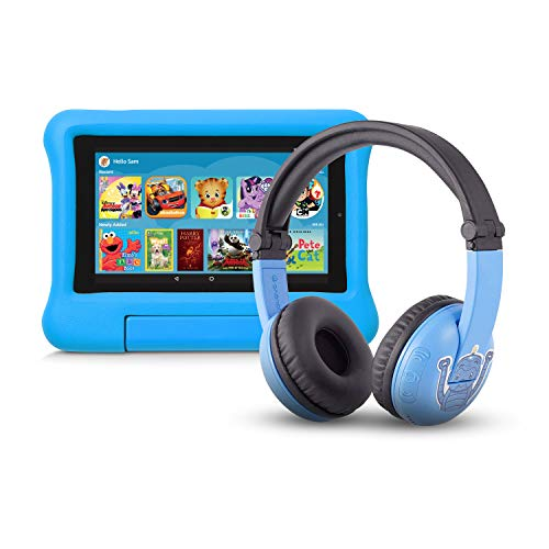 Fire 7 Kids Edition Tablet | 7' Display, 16 GB, Blue Kid-Proof Case + Made for Amazon Bluetooth BuddyPhones, PlayTime in Blue – Ages (3-7)