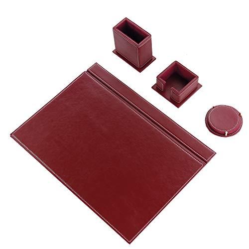 Calme-N - Juego de 4 protectores de escritorio de 49 cm x 34 cm, juego de escritorio de piel sintética en 6 colores a elegir (burdeos)