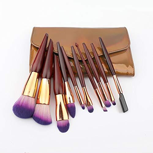 Maquillage Pinceau Set 10 Pcs Fibre Professionnelle Fondation Crayon Correcteur Ombre À Paupières Outils De Beauté (Sac PU)