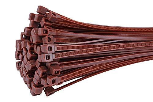 vallaFix&Easy bridas para cables 3,6x300mm marrón 25 pieza para protección de la privacidad esterilla de mimbre para Balcón Jardín terrazas