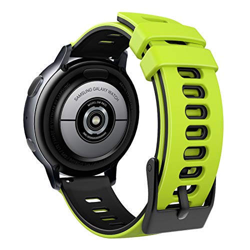 MoKo Correa Compatible con Garmin Forerunner 245/Galaxy Watch 3 41mm/Galaxy Watch 42mm/Active/Active 2, Banda Deportiva de Repuesto Silicona Suave de Dos Colores, Verde y Negro