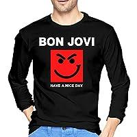 Bon Jovi ロングtシャツ メンズ パーカー カットソー ロンt 長袖 ワンポイント クルーネック シンプル Tシャツs Black
