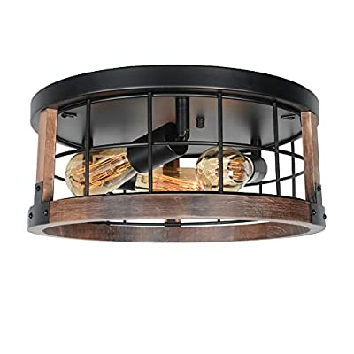 Beuhouz Small Square Farmhouse Flush Mount Ceiling Lighting, 1-Light Black Metal and Wood Rustic Ceiling Light Fixture Industrial Mini Close to Ceiling Wire Cage Light Edison E26 8057