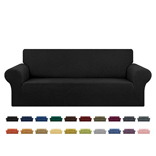 """KEKUOU Stretch Sofa Cover Slipcover 1 Piece Couch Sofa Cover (79""""-94"""") Furniture Protector 3 Seater Sofa with Elastic Bottom for Kids,Pet.Jacquard Small Checked Pattern Fabric(Large,Black)"""