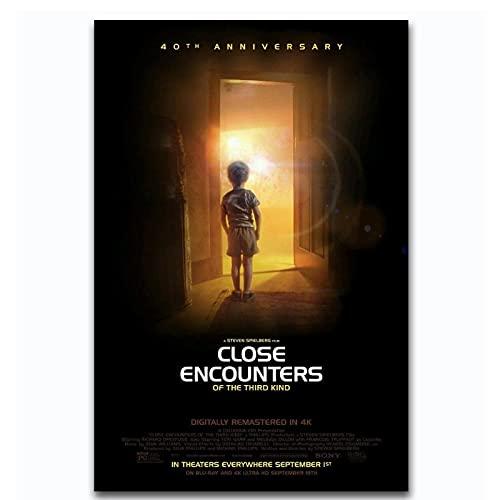 WEUEWQ Manifesto Incontri ravvicinati del Terzo Tipo Spielberg Art Poster Wall Decoration Gift -60x80cmx1 Senza Cornice