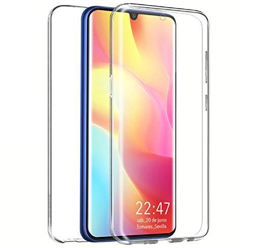 PLANETMOVIL Funda 360 Compatible con Xiaomi Mi Note 10 Lite Carcasa Doble Cara 360 de Silicona Delantera + Trasera TPU rigido Doble 100% Transparente Enteriza y Completa