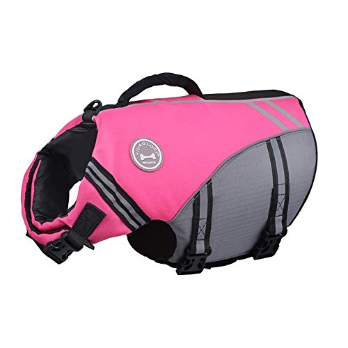 Vivaglory New Sports Style Ripstop Dog Life Jacket with Superior Buoyancy & Rescue Handle, Pink, L