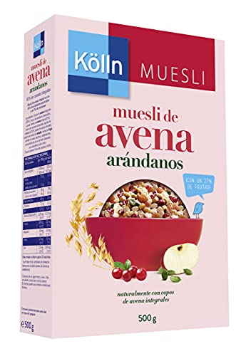 Kölln - Muesli de Avena con Arándanos Rojos, Cereales Integrales con Frutas y Pepitas de Calabaza, Alto Contenido de Fibra - 500 g