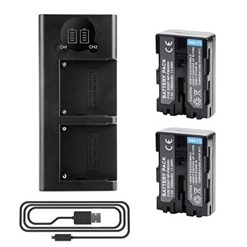 2 baterías de repuesto para Sony NP-FM500H/NP-FM500 + Mini cargador USB compatible con Sony Alpha 68 Alpha 58 Alpha 99II