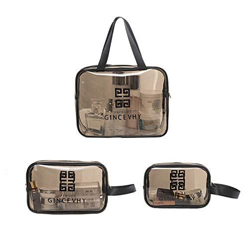 behone 3 pezzi Sacchetti trasparenti per il trucco in PVC con cerniera, Clear Borsa Cosmetici Trasparente Per Viaggi di Vacanza Cerniera Pochette Cosmetici Sacchetto da Viaggio Organizer