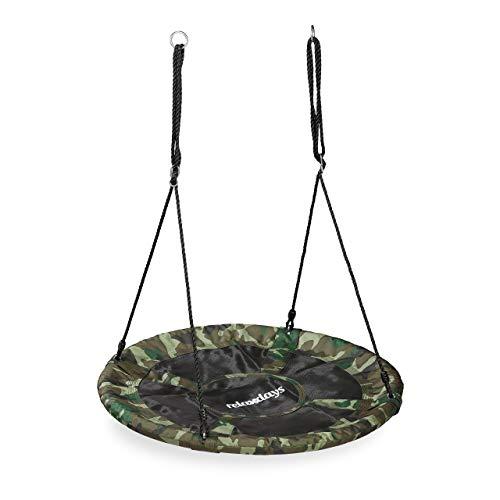 Relaxdays Nestschaukel Forma de Camuflaje, para niños y Adultos, 100 kg, Columpio Infantil, 100 cm de diámetro, Color Verde Oscuro