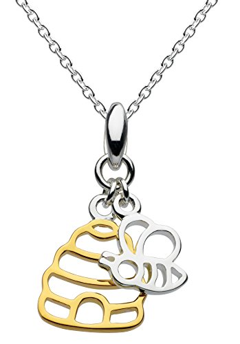 Dew Sterling Silver and Gold Plate Honey Bee Yourself Hive and Bee Necklace of Length 45.7 cm