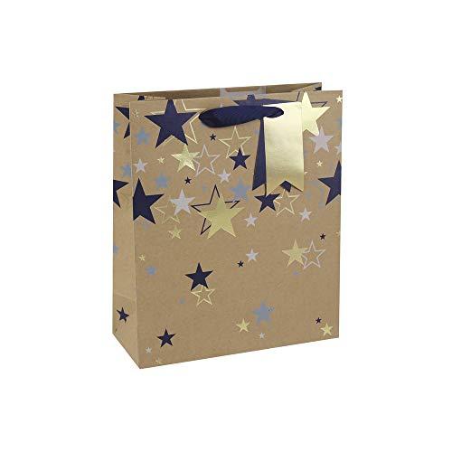 Clairefontaine 28587-3C - Un sac cadeau moyen 21,5x10,2x25,3 cm 210g, Etoiles multiples