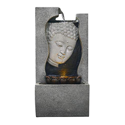 "DONGTAISHANGCHENG Fontana Zen Zen Buddha Tavolo Fontana 24"" Cascata con Luce a LED for Indoor Table Desk e Terrazza Giardino Fontana Interna"