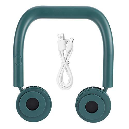 Uxsiya Ventilador de refrigeración portátil con cuello de carga USB para trabajo de oficina para viajar (verde, tipo torre inclinada Pisa