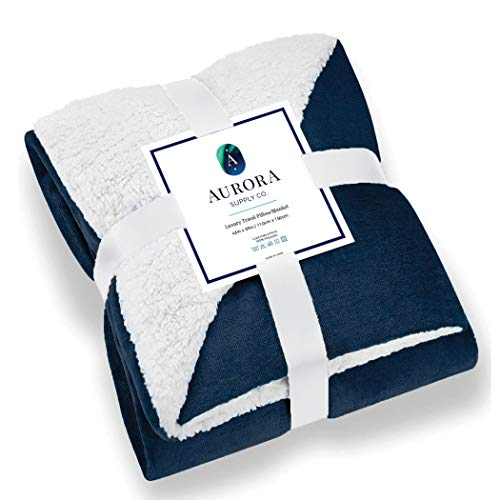 Aurora Luxury Travel Blanket - Navy Throw Blanket, Warm Sherpa & Fleece Blanket. Perfect For Home, Car Or Any Type of Travel.